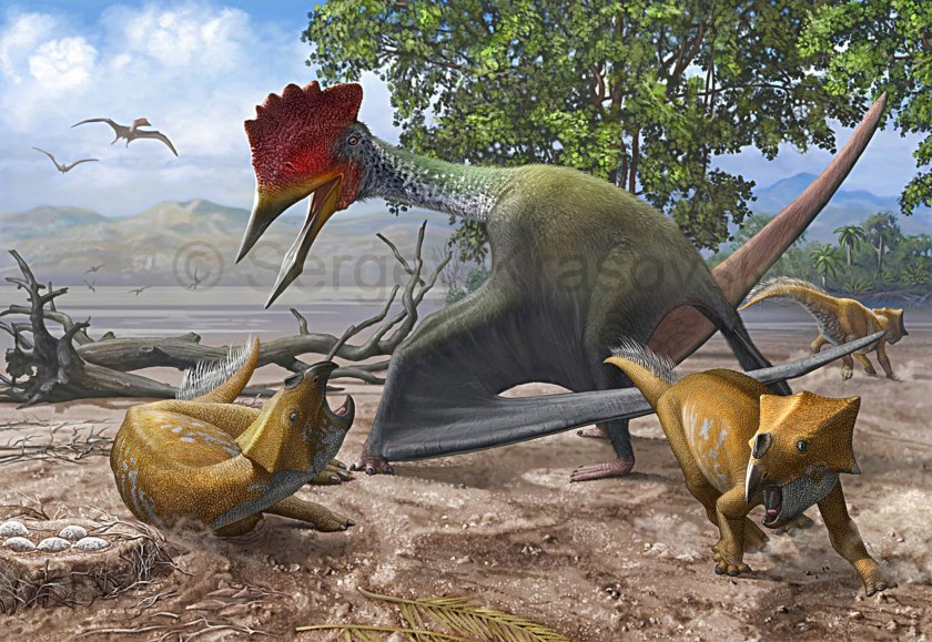 Bakonydraco galaczi by Sergei Krasovskiy, in conflict with the ceratopsian Ajkaceratops.